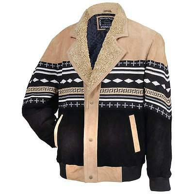 Mens Womens Southwest Native American Aztec Indian Print Suede Leather Jacket