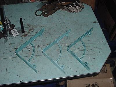 "VINTAGE IRON SHELF BRACKETS LOT OF 3 9 1/2"" x 7"" LIGHT BLUE"