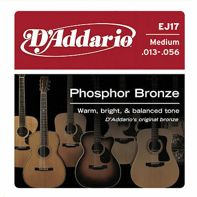 3 PACK- D'Addario EJ17 Phosphor Bronze  Medium Acoustic Guitar Strings 13 - 56