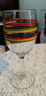Libbey Glass Homer Laughlin FIESTA  Horizontal Stripe/Band  7 inch Goblet set 12