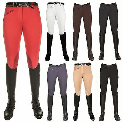 HKM Ladies Junior Penny Leather Knee Patch Breathable Soft Horse Riding Breeches