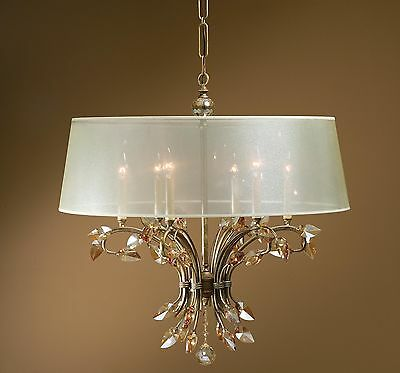 """New 29"""" Gold Metal & Crystal Chandelier Ceiling Fixture Vintage Antique Style"""