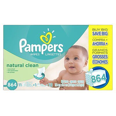 Pampers Natural Clean Wipes 12x Box with Tub, 864 Count