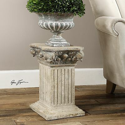 New Aged Ivory & Gold Undertones Display Pedestal Plant Or Statue Stand Holder