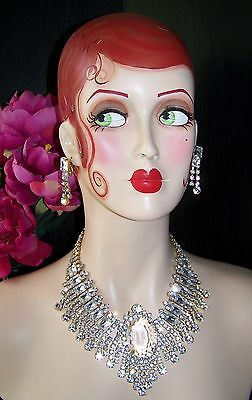 Stunning CZECH Couture Rhinestone Crystal Clear Fringe Necklace Set by Lilien