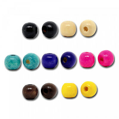100 Ball Wood Pearls colourful 10x9mm Mix round Wooden beads Wood Spacer Bead
