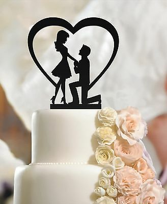 Fiance & Fiancee in Man on Knee and Heart Wedding Engagement Cake Toppers