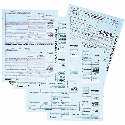 2016 1099 MISC Tax Forms 5-Part, 50 Forms Plus 1096, Quickbooks Compatible