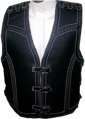 New Mens Motorcycle Leather waistcoat Vest