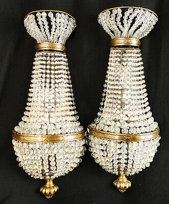Antique French empire style bronze and crystal pair of sconces (194)