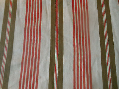 Antique French Rustic Farmhouse Cotton Ticking Fabric ~  Red Tan Brown