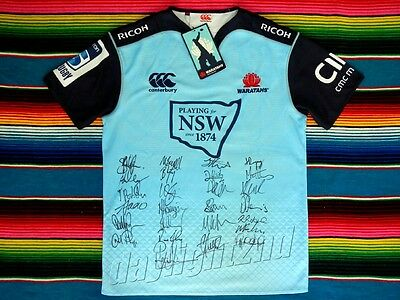 Signed 2016 NSW WARATAHS Rugby Jersey PROOF COA Wallabies World Cup Union 2016