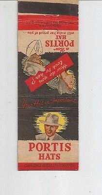 MATCHBOOK COVER Portis Hats