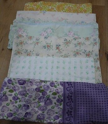 Lot Of 6 Vintage Retro Pillowcases Fabric Crafts Quilting
