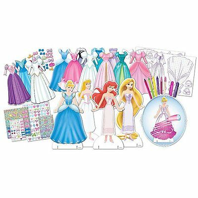 Disney Princess Deluxe Dress Up Paper Doll Activity Set Over 150 Pieces