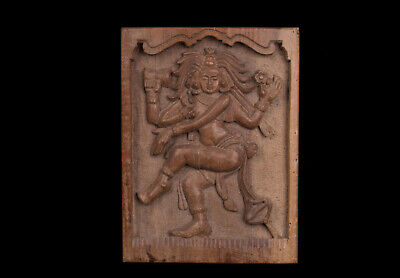 Südindien 20. Jh. Holzrelief - A South Indian Carved Wood Plaque Shiva Nataraja