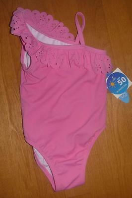 Girls One Piece ONE SHOULDER Swim Bathing Suit Size 3T Wave Zone Pink Salmon NWT