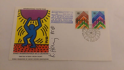 Keith Haring, Original Signed Autograph, on United Nations W.F.U.N.A.
