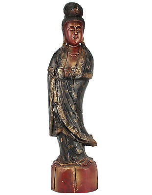 China 19./20.Jh. Große Holzfigur -A Large Chinese Wood Guanyin - Cinese Chinois