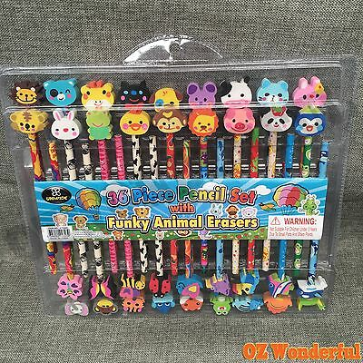 36pcs PIECE PENCIL SET with Funky Animal Erasers for Children's and Kids NEW