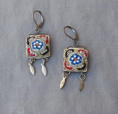 Vintage Victorian Style Floral Drop Dangle Micro Mosaic Pierced Earrings