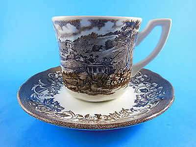 Meakin Royal Staffordshire Stratord Stage Coach Ironstone Cup & Saucer brown