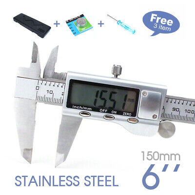Stainless Steel Electronic Digital LCD Vernier Caliper Micrometer New 150mm 6''