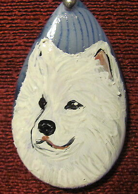 Samoyed hand painted on blue teardrop pendant/bead/necklace