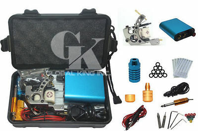 Complete Tattoo Kit 1 Professional Machine Gun 5 Needle Foot pedal Power Supply