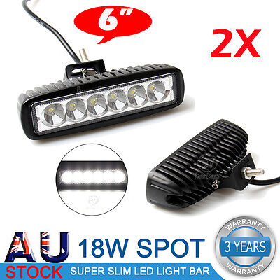 2X 18W 6inch LED WORK LIGHT BAR DRIVING SPOT OFFROAD 4WD UTE CAR FOG LAMP 12V