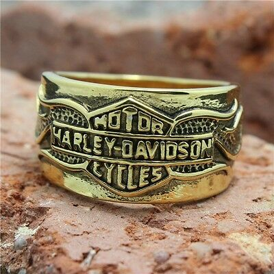316L Stainless Steel ring gold toned sizes US 7-15 Motorcycle biker