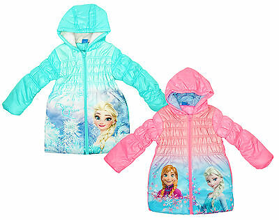 Girls Coat Hooded Anorak Frozen Anna Elsa Front Print Disney Sisters 4 - 8 Years