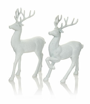 Set of 2 White Reindeer Christmas Decorations Display Props Table Decoration