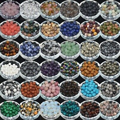 100Pcs Natural Gemstone Round Charms Loose Spacer Beads 4MM 6MM 8MM 10MM 12MM