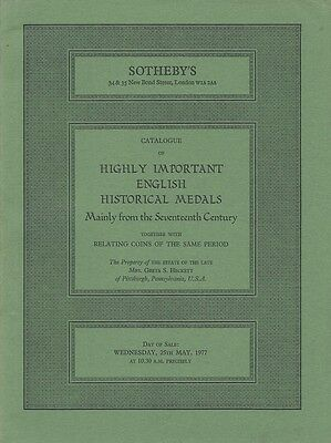 Sotheby´s Catalogue Of Highly Important English Historical Medals 17Th Cent 1977