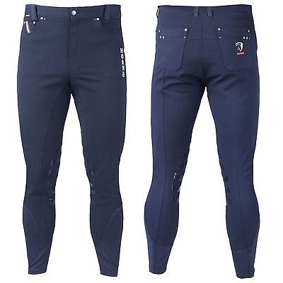 Horka Equestrian Mens Oxford Silicon Knee Patch Elastic Ankle Closure Breeches