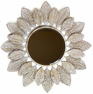 Abstract Metal Wall Art Mirror Leaf Hanging Sculpture Round Home Décor BIG 91 cm