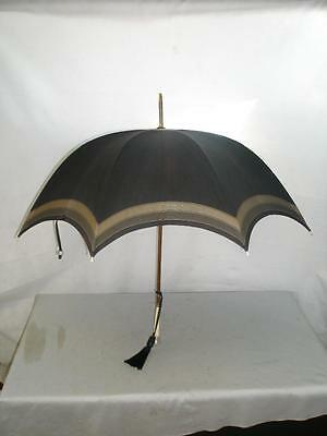 *antique Umbrella- Hallmarked Silver Top 1887- Bovine Bone Handle- Navy Canopy*
