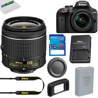 NEW Nikon D3400 Digital SLR Camera + AF-P 18-55mm f/3.5-5.6G VR Lens + 16GB SD