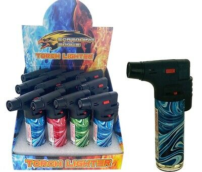"3Pack Jumbo 4""Single Jet Flame Q Torch Gun Lighter Refillable Lockable Windproof"