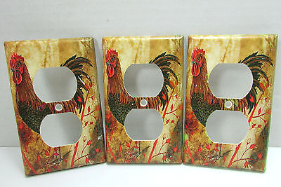 3 Duplex Leviton Wall Light Switch Plates Rooster Theme Yellow & Red