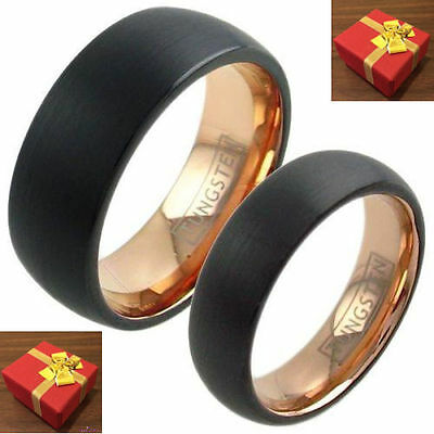 Tungsten Two Ring Set Black Domed Rose Gold Interior Wedding Bands Size 6-13