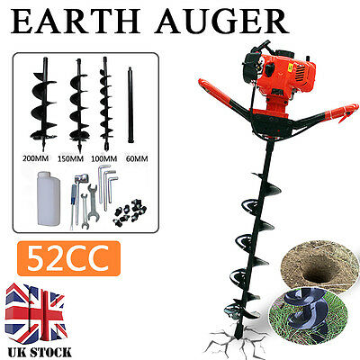 52cc 2HP Petrol Powered Earth Auger Post Hole Borer Ground Drill +3 Bits