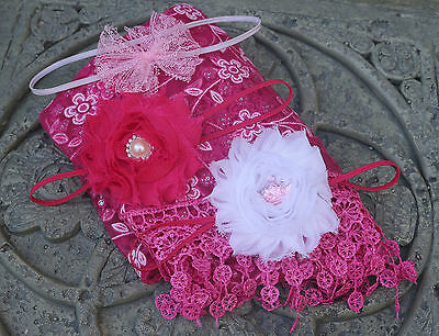 Hot pink Newborn Baby no-Stretch Lace Wrap Photography Prop 3 headbands