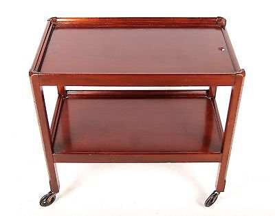 Vintage Mahogany Trolley Two Tier Drinks Hostess Trolley Castors Antique Repro