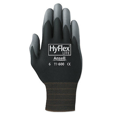 AnsellPro HyFlex Lite Gloves Black/Gray Size 9 12 Pairs 116009BK