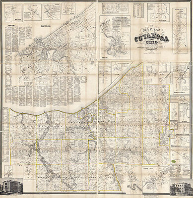 1858 Map of Cuyahoga County Ohio