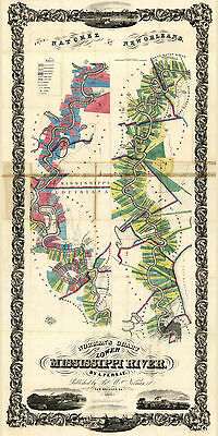 1858 Farm Map Normans Chart of the Lower Mississippi River