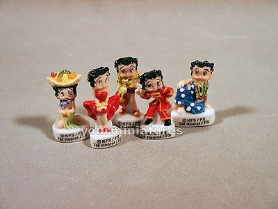 Porcelain Set of 5 Betty Boop French Feves Set A