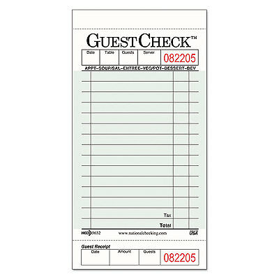 NATIONAL CHECKING CO. Guest Check Pad with Customer Receipt Stub 3 1/2 x 6 3/4